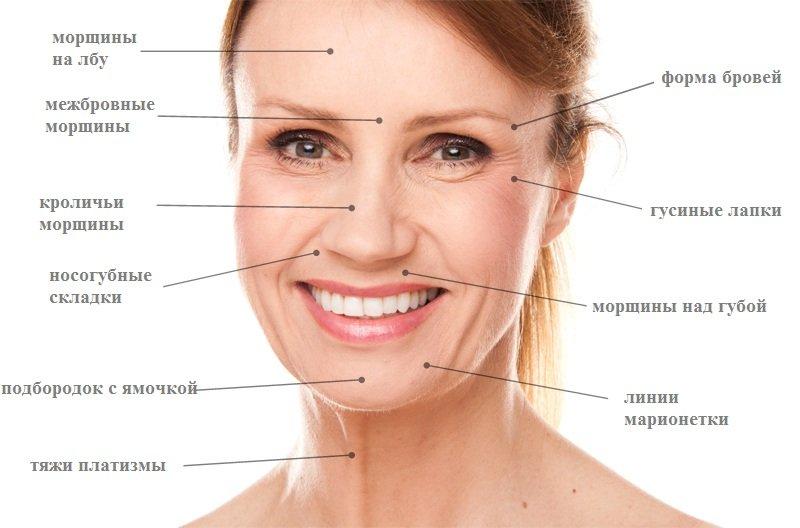 лицо женщины таблица морщин
