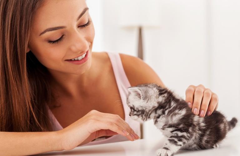Девушка гладит котенка