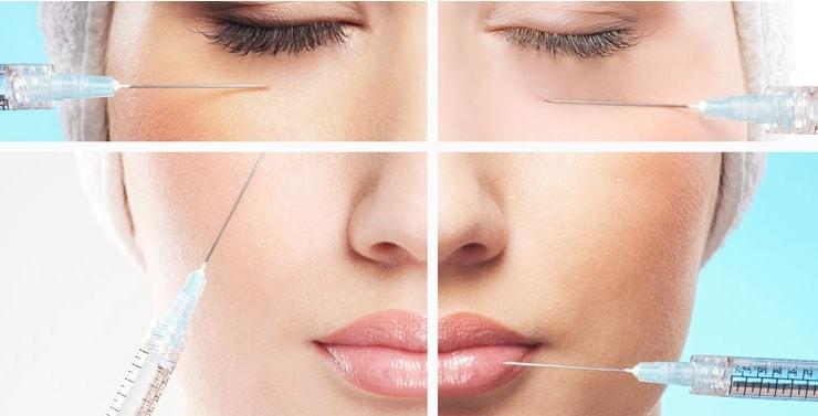 уколы в разные части лица