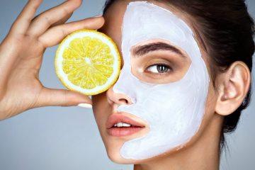 Маска на лице с лимоном