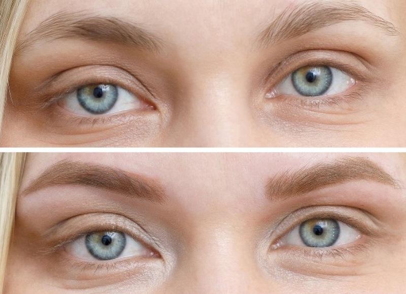 перманентный макияж бровей: фото до и после